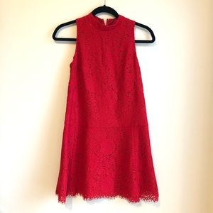 NWT LOFT red lace mock neck sleeveless dress 00P